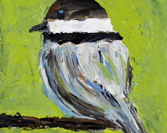 Green Cottage Chic Chickadee Bird Painting. Wildlife Animal Portrait. Gift for Bird Lover. 96