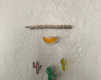 Multi colored stained glass cacti wall hanging sun catcher