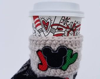 Disney Christmas Mickey Joy Crochet Coffee Cozy