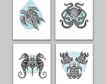 Tribal Marine Animals Tattoo Style, Turtles, Octopus, Seahorse, Mini Art Prints, Set of 4