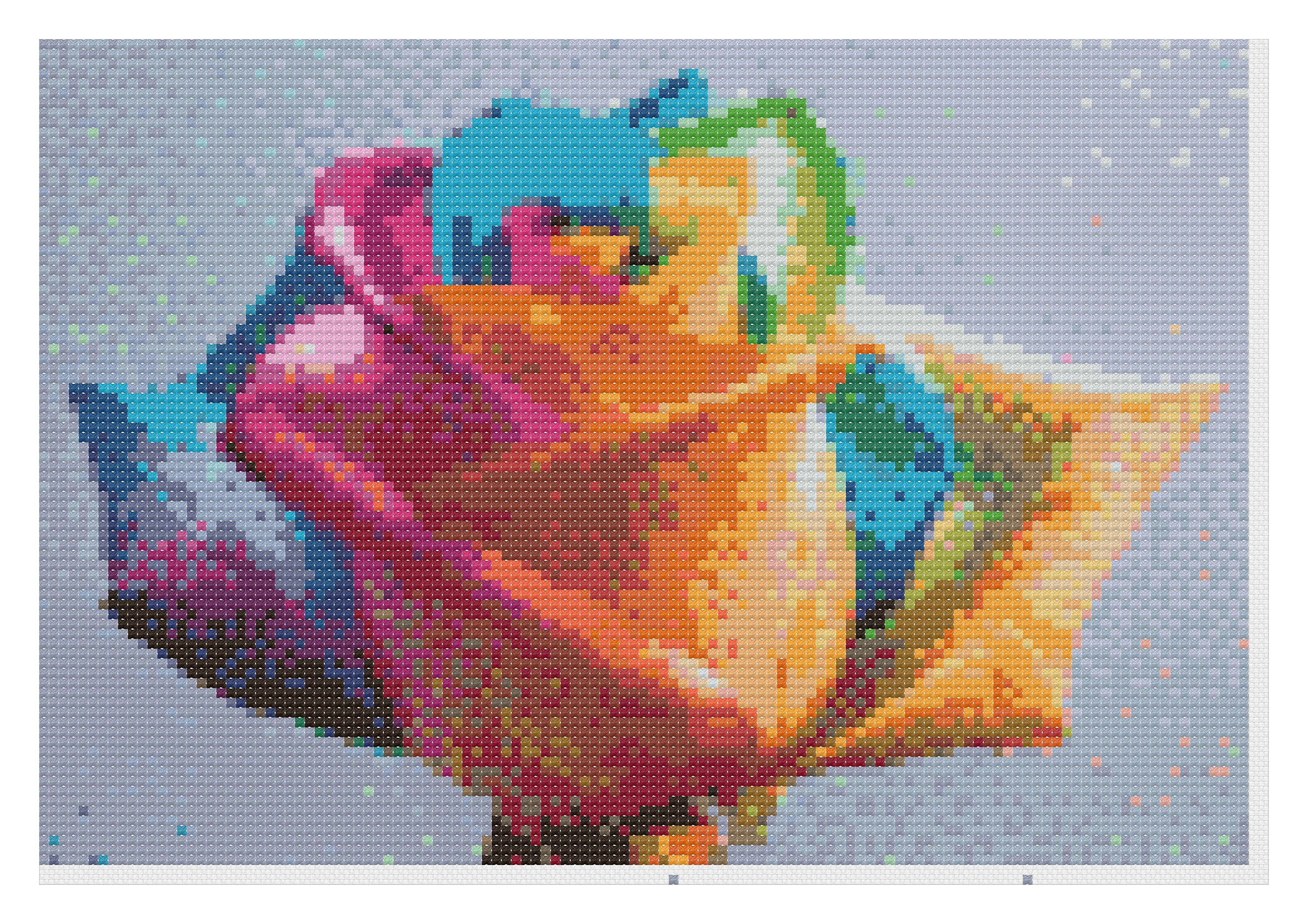 Rainbow rose cross stitch pattern color chart dmc floss zoom geenschuldenfo Choice Image