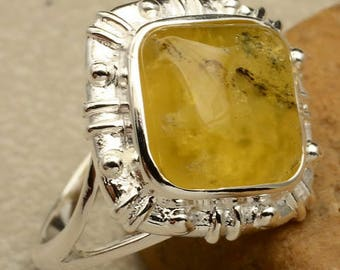 Sterling Ring ~ Silver Yellow Chalcedony Ring Size 5