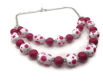 Hot Pink and Polka Dot Necklace