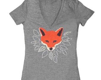 Fox VNeck - Womens Girls T-shirt Track Tee Shirt Tri Blend Cute Fantastic Mr Fox Orange Animal Forest Wolf Leaves Tree Athletic Grey Tshirt