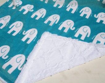 SALE - Baby Boy MINKY Blanket, Minky Baby Blanket, Baby Boy Blanket, Elephant Baby Blanket, Ready to Ship Boy Blanket, Teal Green Elephants