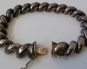 Retro Vintage unique BOLD 3D link Sterling 925 silver bracelet made in Italy