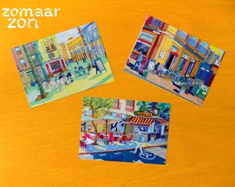 "Set of 3 Postcards ""terraced people"""