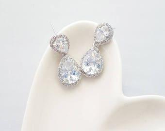 Crystal Cubic Tear Drop Earrings,Crystal Dangle Earrings,Cubic Tear Drop,Tear Drop Earrings,Bridal Earrings,Bridesmaid Earrings,Cubic Dangle