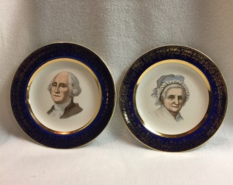 George and Martha Washington Plates with Colbalt Blue 22kt Gold Edging (#075)