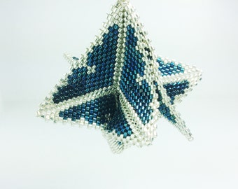 Dark Blue and Silver Many pointed swooping Ornament, Christmas Tree Ornament, Christmas Ornament, Peyote Stitch Silver Christmas Ornament