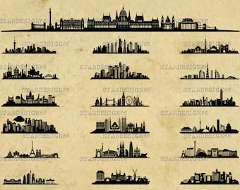 Digital SVG PNG JPG World Cities, skylines, landscape, monuments, metropolis, city scape, clipart, vector, silhouette, instant download