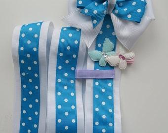 Blue and White Polka Dot Bow Holder, Hair Bow Organizer, Hair Clip Holder, Hair Clip Organizer, Hair Clip Display