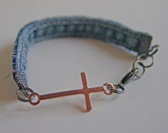 Bracelet Curved Sideways Cross Rose-Tone Blue Denim Jeans Fabric Seams Women Jewelry