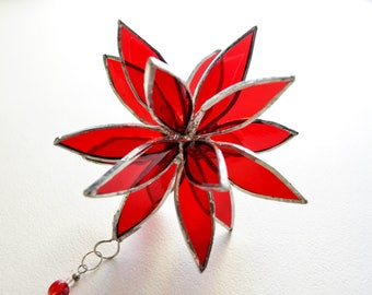 3D Stained Glass Suncatcher.Red Flower. Flower of Life - Swirl. 4,5""