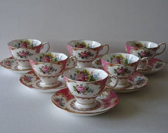 Royal Albert Lady Carlyle set of 6 coffee Cups and Saucers Bone China England