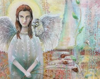 Original Mixed Media Fantasy Angel Owl Painting