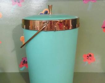 Plas-Tex Ice Bucket Metal Green Blue Rubber Plastic Bar Home Kitchen Shelf Decor Mid Century Modern Retro Vintage