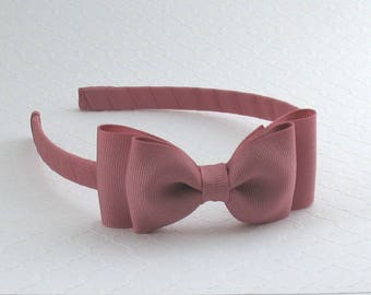 Girls Headband ~ Mauve Bow on Hard Headband, Toddler Bow Headband, Toddler Headband, Adult Headband