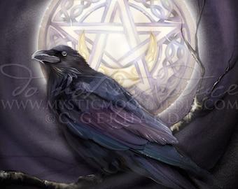 Morrighan's Moon ... Print... Beautiful Dark Raven sitting in the Moonlight with Celtic Inspired Pentagram... Fantasy Pagan Art...