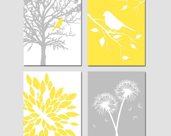 Yellow Gray Art Quad - Bird in a Tree, Bird on a Branch, Dandelions, Abstract Floral - Set of Four 11x14 Nursery Prints - CHOOSE YOUR COLORS
