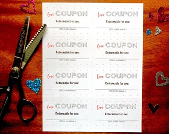 DIY LOVE Coupons, PDF, instant download, printable