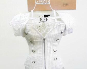 White with Vintage Baroque striped Victorian Corset jacket Steampunk corset white