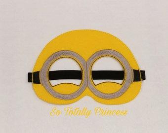 Minion inspired mask/Birthday mask/Halloween mask/Costume mask/Pretend play mask