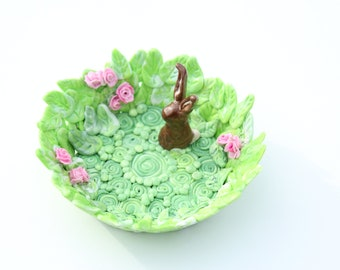 Small Jewelry or Trinket Dish - Coin Dish Handmade Polymer Dish