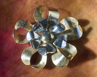 Silver and Gold Dramatic Floral  Brooch Pin Vintage