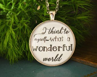 I Think to Myself What a Wonderful World - Louis Armstrong - Song Lyrics - Inspirational - Positive - Gift for her - Uplifting - Music Lover