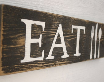 EAT Sign Kitchen Decor Wall Art Fork Knife Spoon Gifts For Mom Handmade Hand Painted Reclaimed Wood ** Free Shipping