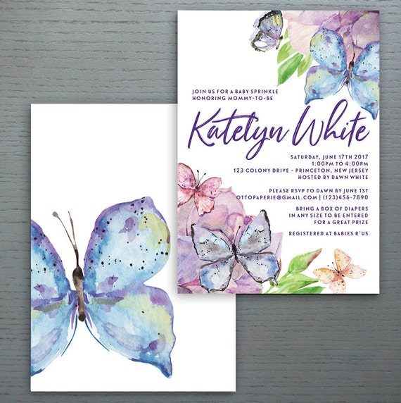 Lilac Butterfly Baby Sprinkle Invitation