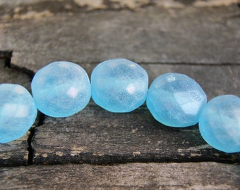 12mm Czech Glass Faceted Rounds in Aqua Blue Matte AB  (15)