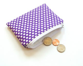 Change purse, ultra violet purple white polka dots zipper pouch, small wallet, women teen  coin purse gift for her