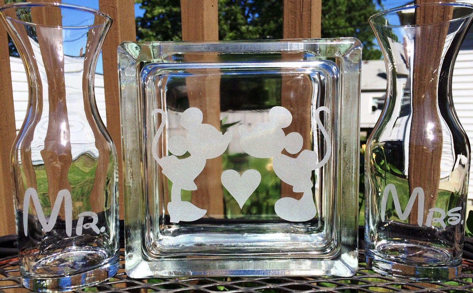 Disney glass block sand ceremony set mickey and minnie zoom reviewsmspy