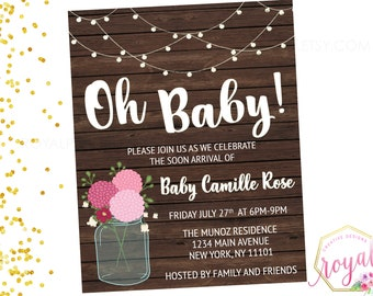 Rustic Mason Jar Baby Shower Invitation - Pink and white - String Lights - Country Barn - Wood and Floral - Printable - DIGITAL FILE