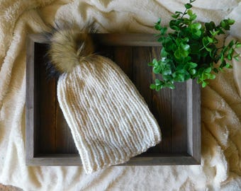 Knit Slouchy Beanie | Knit Slouchy Hat | Ribbed Beanie | Chunky Handknit Beanie | Beanie with Pom-pom