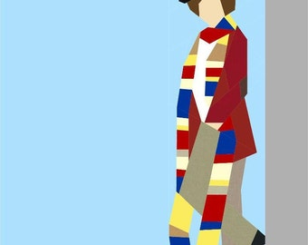 Doctor Who Paper Pieced Quilt Pattern PDF Download - The Fourth Doctor - Tom Baker