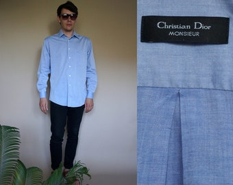 Men's Christian Dior Monsieur blue long sleeve shirt