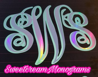 Holographic Double Monogram Car Decal • Windshield Sticker •Holographic Monogram • Changing colors• Laptop decal•Holographic •Monogram Decal