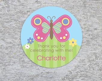 Personalized Butterfly Party Favor Tags or Stickers – 2, 2.5 or 3 Inch Circle – DIY Printable – Happy Butterfly (Digital File)