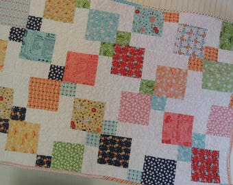 Vintage Happy Quilt Pattern Tutorial  pdf. with photos, Easy to make.