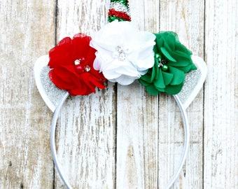 Unicorn Headband - Christmas Unicorn Headband - Unicorn - Satin Lined Headband - Girls Headband - Holiday - Christmas Headband
