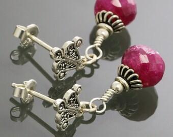 Genuine Ruby Earrings. Sterling Silver. Turkish Filigree. Silver Ear Posts. Genuine Gemstone. July Birthstone. s15e007