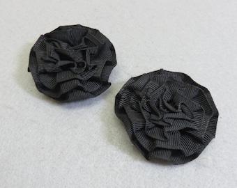 Black Grosgrain Ribbon Rosette Shoe Clips, Vintage, Mint