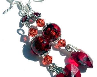 Red Heart Earrings, Swarovski Hearts and Lampwork Jewelry, Love Inspired, Valentines Day Jewelry Cyber Monday Sale
