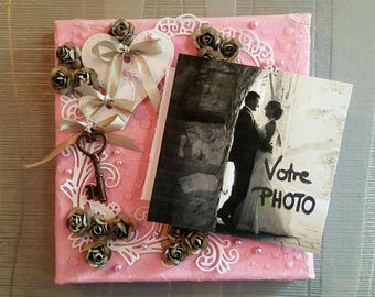Canvas photo holder: the key to happiness - pink
