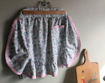 Vintage Apron - Floral Apron - Pink Apron - Gray Apron - Grey Apron - Apron with Pocket - Hostess Apron