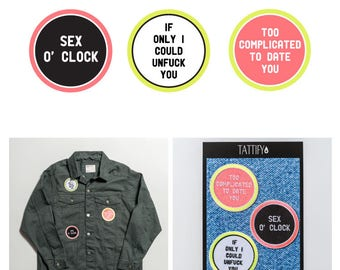 Nympho Words and Phrases Embroidered Iron On Sticker Patch Set Gone Bad Collection