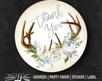 Boho Horns Circle Label   Rustic Address Label   Custom Thank You Wedding Favor Sticker Bridal Baby Shower Blue Silver Deer Horns Winter